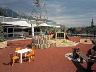 Freifläche für den Kindergarten auf dem Dach des Einkaufszentrums