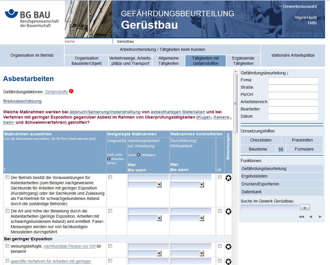 notwendige arbeitsschutzmanahmen werden in checklisten erfasst - Gefahrdungsbeurteilung Beispiel