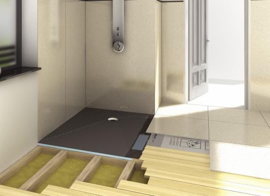 bodengleiches duschelement f r holzbalkendecken bad und sanit r. Black Bedroom Furniture Sets. Home Design Ideas