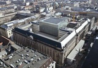 Luftansicht der Staatsbibliothek mit Blick von Nord nach Süd