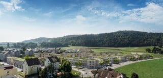 Gesamtansicht der neuen Siedlung mit unterschiedlichen Gebäudetypen am südlichen Ortsrand von Mellingen