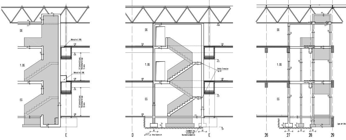 Treppenhaus technische zeichnung  Alte Mensa Oberwiesenfeld in München   Brandschutz   Weitere ...