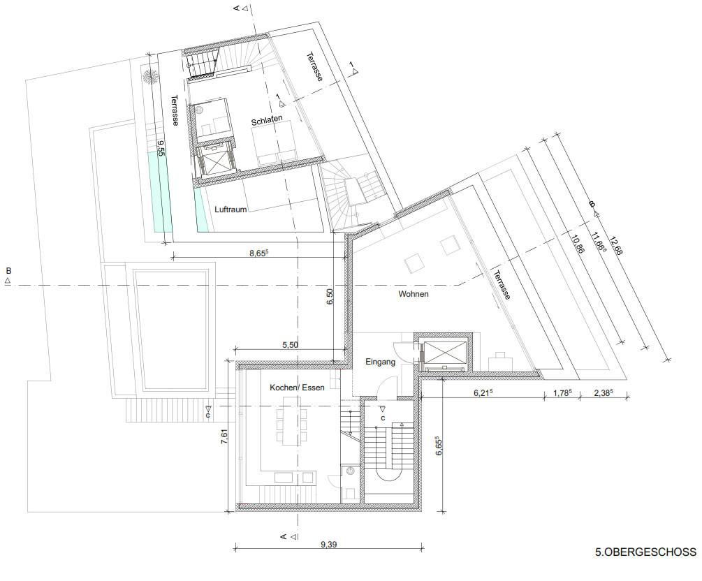 Grundriss 5. Obergeschoss Mit Zugang Zur Maisonettewohnung