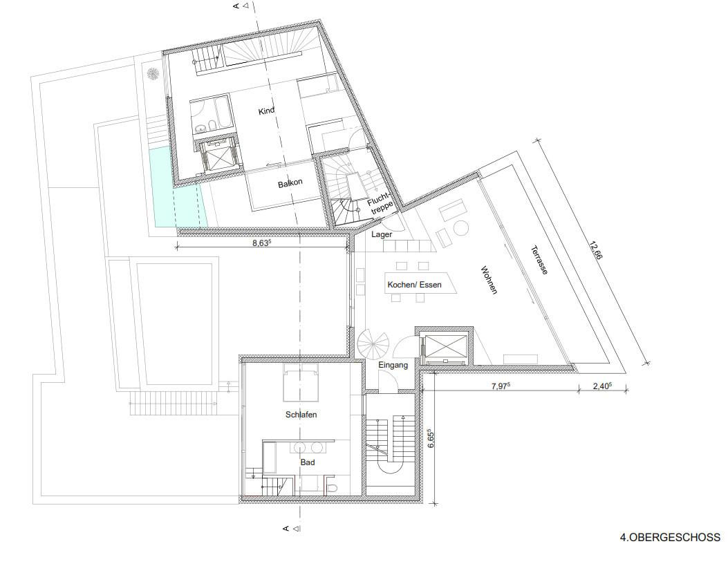 Wonderful Grundriss 4. Obergeschoss: Links Unten Ist Der Schlafraum Der  Maisonettewohnung
