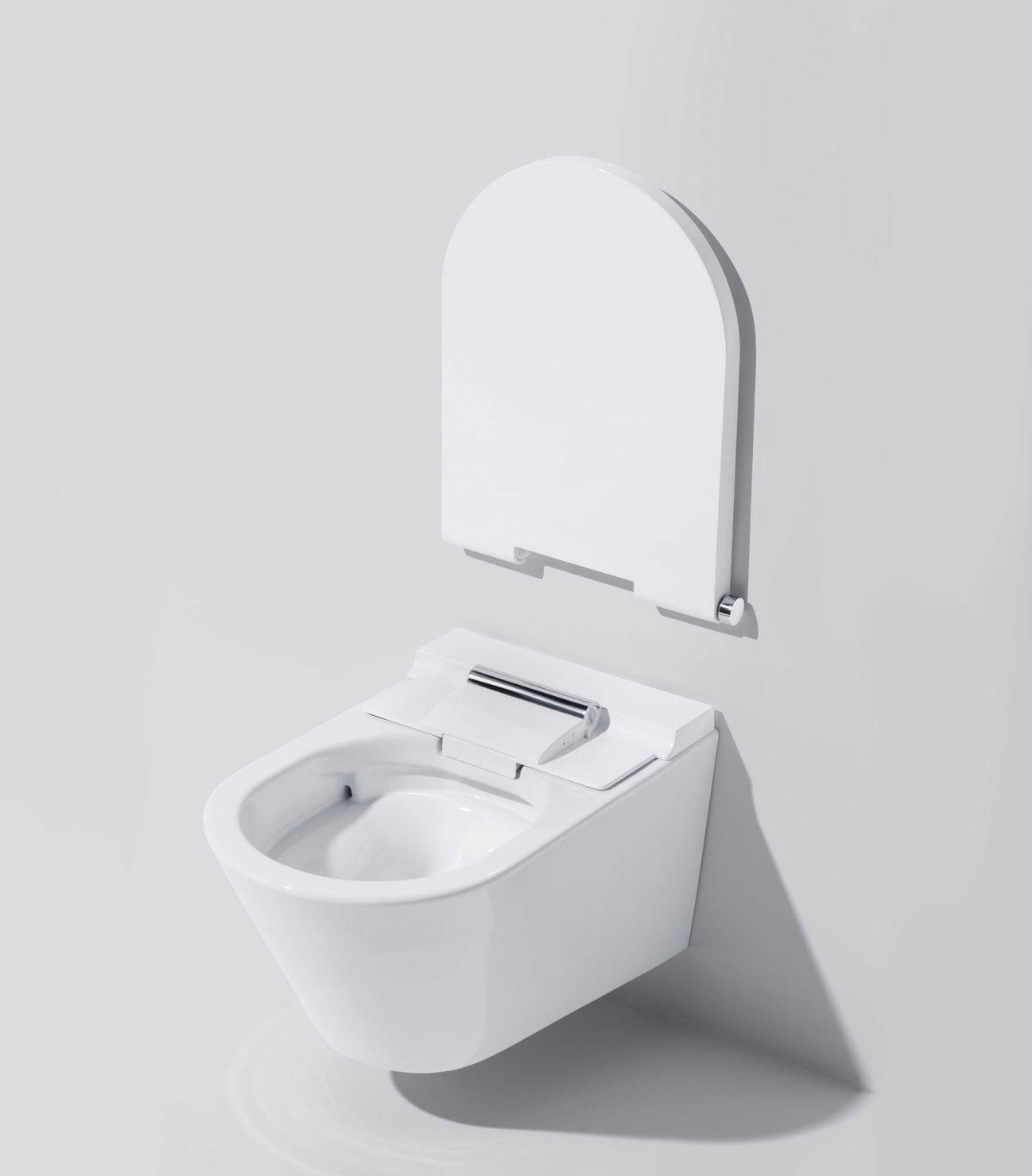 Das sanitärobjekt verfügt über eine schmutzabweisende oberfläche und ein spülrandloses becken