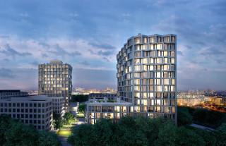 Im Quartier am Hirschgarten entstehen zwei 53 Meter hohe Wohntürme mit 260 Wohnungen (Rendering)