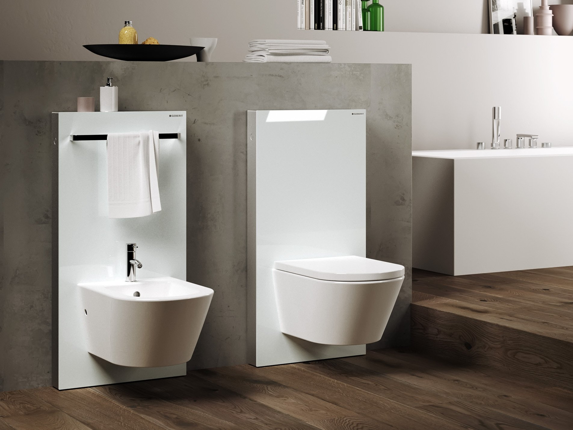 flache vorwandinstallation f r wc bidet und waschtisch bad und sanit r news produkte. Black Bedroom Furniture Sets. Home Design Ideas