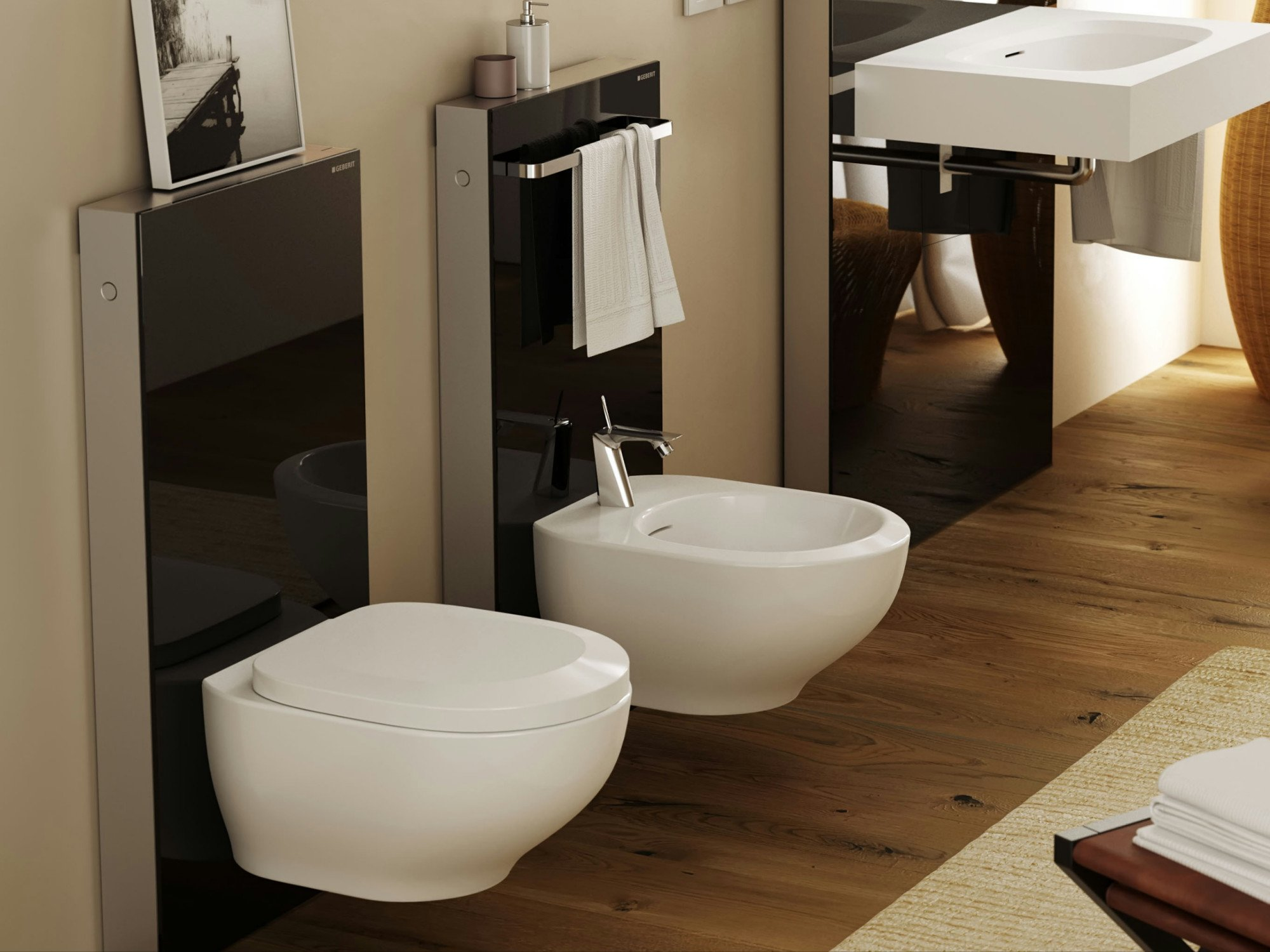 flache vorwandinstallation f r wc bidet und waschtisch. Black Bedroom Furniture Sets. Home Design Ideas