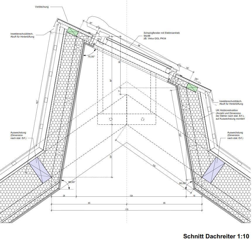 Oberlicht schnitt  Meierhof Trausdorf | Bauphysik | Altbau/Sanierung | Baunetz_Wissen