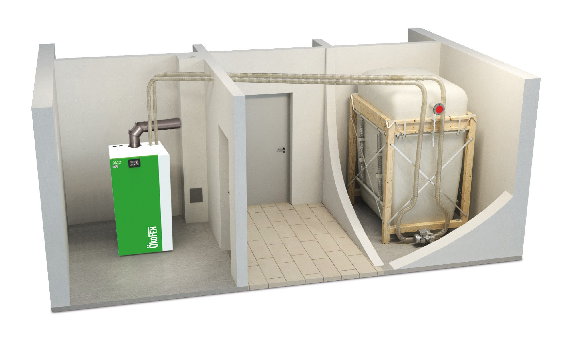Saugsystem mit Maulwurf Pelletaustragung Pelletlager Vorratsbehälter Pellet