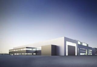 Am Mülheimer Hafen entsteht derzeit eine Wartungshalle für ein Turbinenwerk nach Plänen des Büros aib