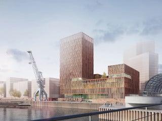 Die Baustellen der Hafen City sind mittlwerweile bis an die Elbbrücken herangerückt. Hier entsteht derweil ein gemeinschaftliches Präventionszentrum der Berufsgenossenschaften BGW und VBG.