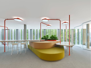 Zwischen viel Grün erheben sich zwei weiße, über einen gemeinsamen Sockel verbundene organische Baukörper: das neue Headquarter von Bosch Automotive Steering bei Schwäbisch Gmünd. Der Entwurf für den Neubau stammt von Wulf Architekten.