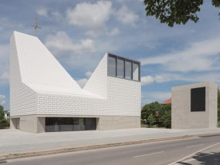 Das Kirchenzentrum Seliger Pater Rupert Mayer nach dem Entwurf von Meck Architekten: Über einem quadratischen Grundriss erheben sich drei asymmetrische Volumen, wechselseitig nach außen gewandt, eines höher als das andere.