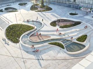 Eine bespielbare Landschaft bildet den Höhepunkt der Neugestaltung des Platzes der Einheit in Kaunas.