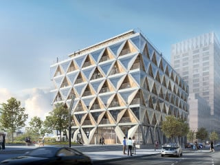 Das Bürogebäude The Cradle am Medienhafen in Düsseldorf von HPP Architekten ist inspiriert vom Cradle-to-Cradle-Gedanken.