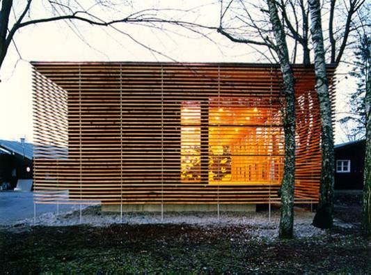 kantine des taucherausbildungszentrum in percha fassade. Black Bedroom Furniture Sets. Home Design Ideas