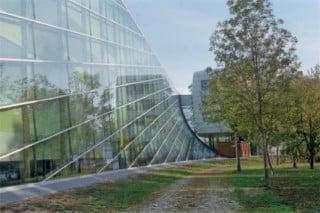 Grüner Saum zwischen Straße und Erschließungshalle mit schräger Glasfassade