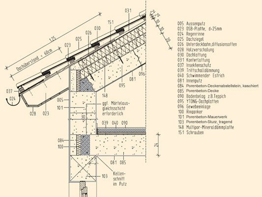 Porenbetondach Konstruktion Mauerwerk Dach Baunetz