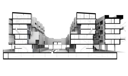Terrassenhaus bremer stadtmusikanten in wien - Architektur schnitt ...